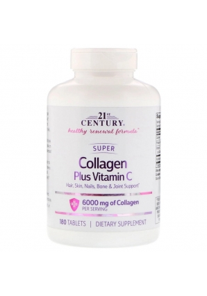 Super Collagen Plus Vitamin C 6000 мг 180 табл (21st Century)