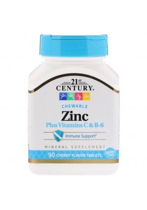 Zinc Plus Vitamins C & B-6 90 жев.табл (21st Century)