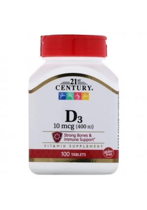 Vitamin D3 10 мкг (400 МЕ) 100 табл (21st Century)