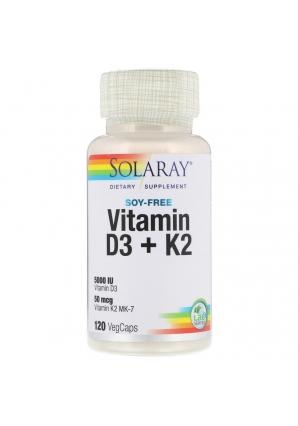Vitamin D3 + K2 120 капс (Solaray)