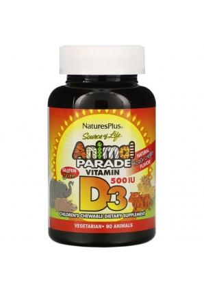 Source of Life Animal Parade Vitamin D3 со вкусом натуральной черемухи 500 МЕ 90 табл. (Nature's Plus)