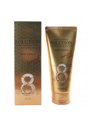 Пенка для умывания с золотом и травами Natural Perfect Solution Cleansing Foam Gold Edition 170 гр (Deoproce)