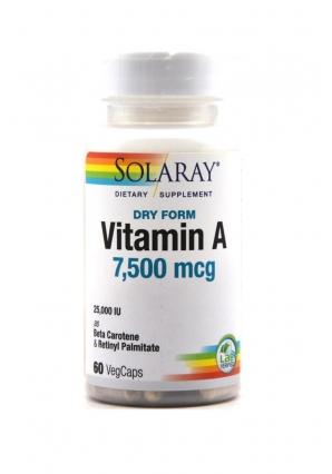 Dry Form Vitamin A 7600 мкг 60 капс (Solaray)