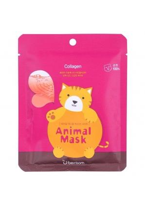Маска тканевая с морским коллагеном Animal mask series - Cat 25 мл (Berrisom)
