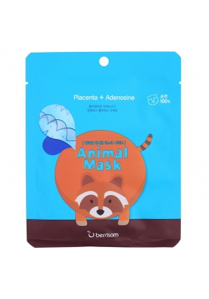 Маска тканевая с экстрактом плаценты Animal mask series - Raccoon 25 мл (Berrisom)