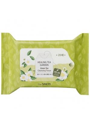 Салфетки очищающие с экстрактом зеленого чая Healing Tea Garden Green Tea Cleansing Tissue 20 шт (The Saem)