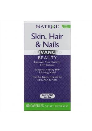 Skin, Hair & Nails, Advanced Beauty, 60 капс (Natrol)