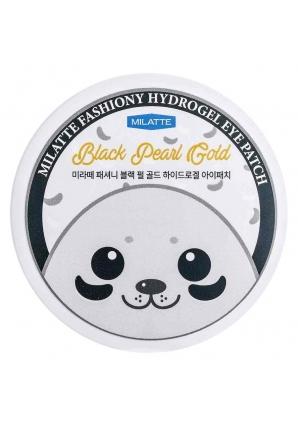 Гидрогелевые патчи для глаз с черным жемчугом и золотом Fashiony Black Pearl Gold Hydrogel Eye Patch 60 шт (Milatte)
