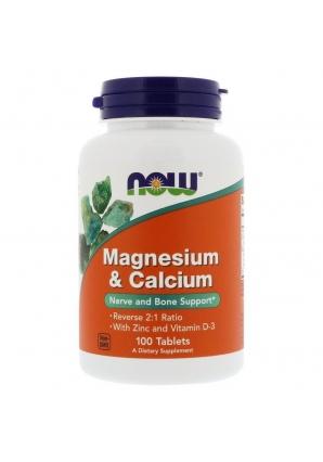 Magnesium & Calcium with Zinc and Vitamin D-3 100 табл (NOW)