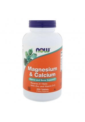 Magnesium & Calcium with Zinc and Vitamin D-3 250 табл (NOW)